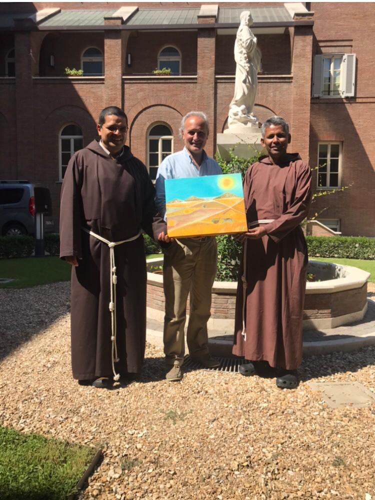 from left in Picture : Brother Paul Martin Torres Zegarra Guardian of the Convent in Rome to Generalate Capouchins Friars , Giuseppe Siniscalchi and Brother Charles Alphonse Général Secretary for formation OFM cap.