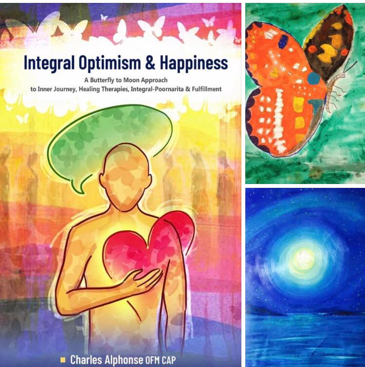 left cover of the book integral Optimism by Fra Charles Alphonse. Upper right butterfly painted by Giuseppe Siniscalchi in second grade and lower right moon of peace, 2015 painted front by Giuseppe Siniscalchi